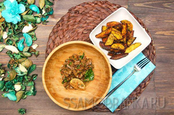 Говяжья печень в кокосовом молоке с лаймом и хрустящим картофелем