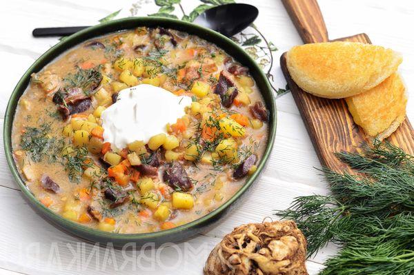 Грибной суп с утиными желудками и сырным пончиком